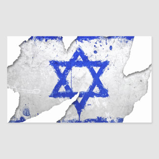Israel flag graffiti rip rectangular sticker
