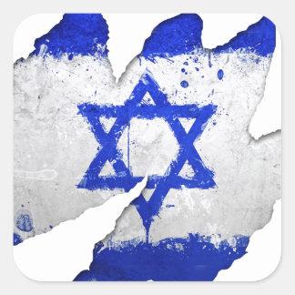 Israel flag graffiti rip square sticker