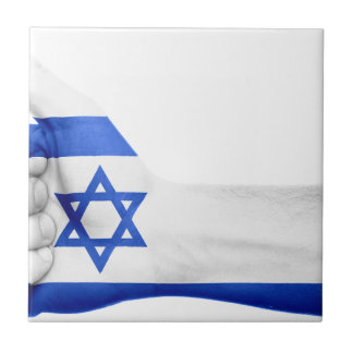 Israel Flag Hand National Fingers Patriotic Tile