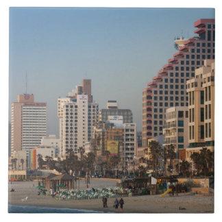 Israel, Tel Aviv, beachfront, hotels, dusk Tile