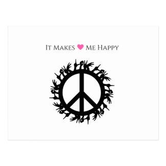 It Makes Me Happy-Peace Postcard