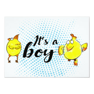 """""""It'a a boy"""" sign with yellow chickens characters Card"""