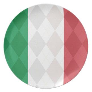 Italian Flag Argyle Dinner Display Plates