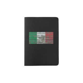 Italian Flag on Rough Wood Boards Effect Passport Holder