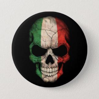 Italian Flag Skull on Black 7.5 Cm Round Badge
