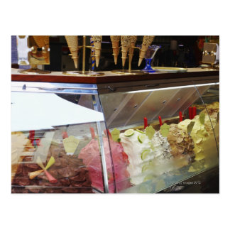 Italian gelato in display case postcard