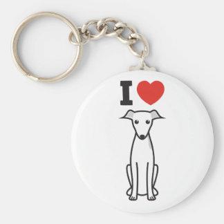 Italian Greyhound Dog Cartoon Basic Round Button Key Ring
