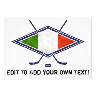 Italian Hockey Flag Logo Invitations