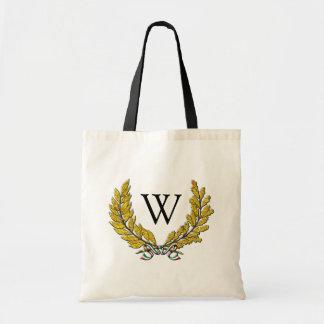 Italian Style Wreath and Monogram Tote Bag