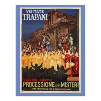 Italian travel Christian Easter procession Trapani Postcard