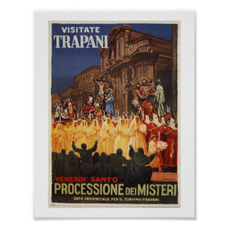 Italian travel Christian Easter procession Trapani Poster