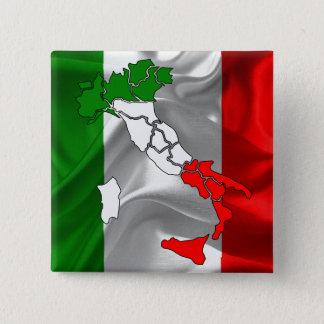 Italian waving flag 15 cm square badge