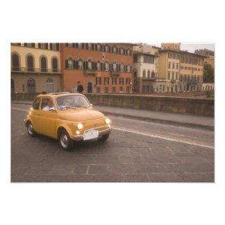 Italy, Florence. Fiat 800 Rally crosses Arno Photo Print