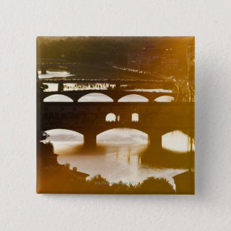 Italy, Florence, Ponte Vecchio and River Arno at 15 Cm Square Badge