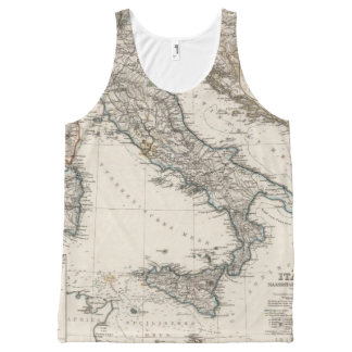 Italy Map by Stieler All-Over Print Singlet