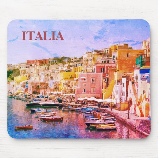 Italy Vintage Art Fishing Port of Procida Mouse Pad
