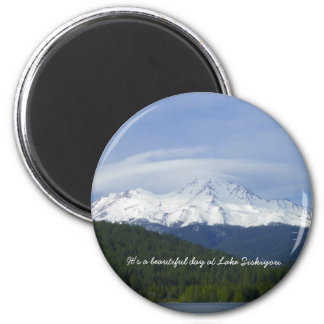 It's a beautiful day at Lake Siskiyou. 6 Cm Round Magnet