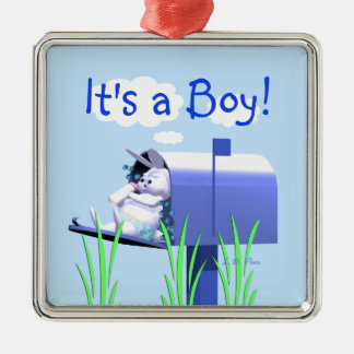 Its a Boy - Baby Bunny in Mailbox Christmas Ornament