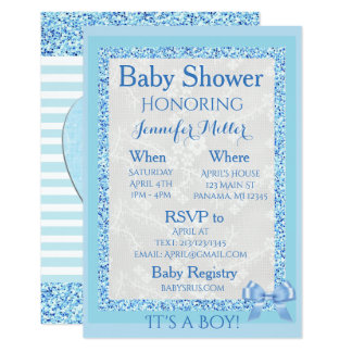 """It's a Boy"" Blue Adorable Baby Shower Invitation"