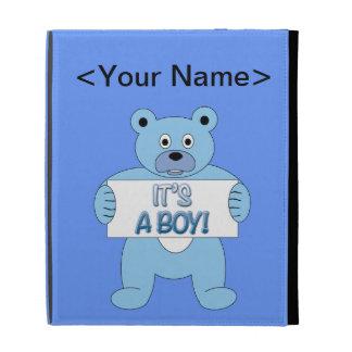 It's A Boy Blue Bear iPad Folio Cover