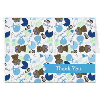It's A Boy Blue Pattern Baby Shower Thank You Cards