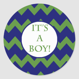 Its A Boy Chevron Milestone Round Sticker