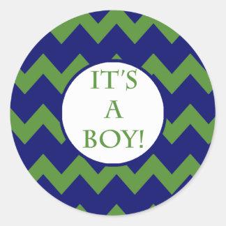Its A Boy Chevron Milestone Sticker