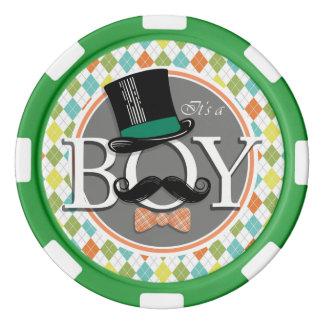 It's a Boy!  Colorful Argyle Set Of Poker Chips
