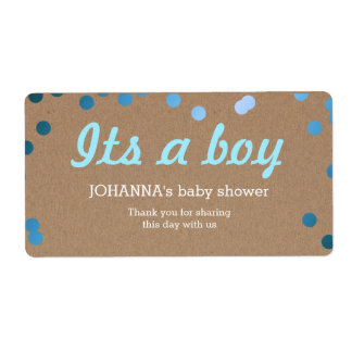 Its A Boy Confetti Kraft Paper Water Bottle Favor
