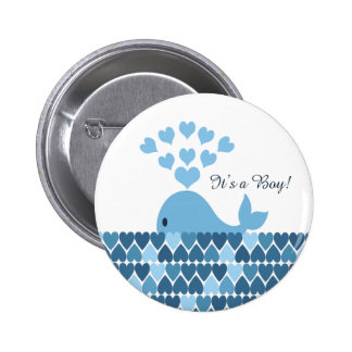 It's A Boy! Cute Whale 6 Cm Round Badge