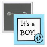 It's A Boy-Footprints Button