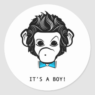 it's a boy! mister monkey classic round sticker