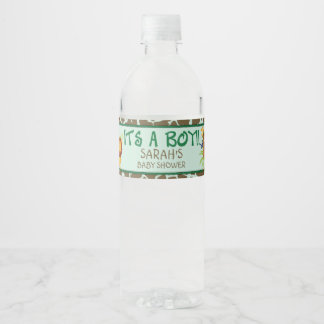 It's a Boy, Safari Baby Shower Water Bottle Label