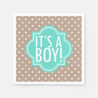 It's a Boy Taupe Polka Dot and Turquoise Disposable Napkin
