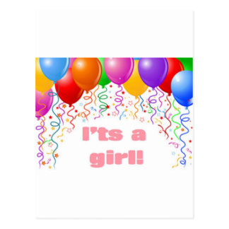 It's a girl!  Baby Announcement Postcard