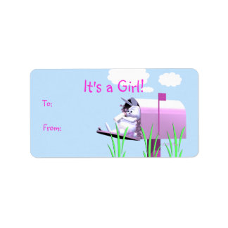 Its a Girl - Baby Bunny in Mailbox Gift Tag Address Label