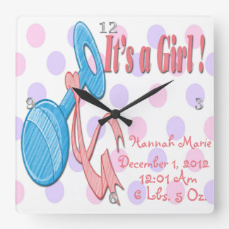 It's a Girl - Baby Rattle Keepsake Wall Clock