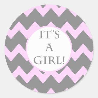 Its A Girl Chevron Milestone Sticker