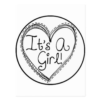 It's A Girl Doodle Milestone Postcard