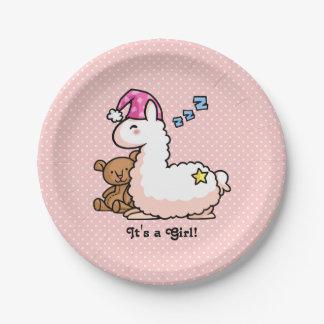 It's a Girl Llama! 7 Inch Paper Plate