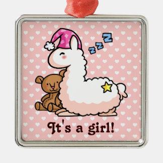 It's a Girl Llama! Silver-Colored Square Decoration