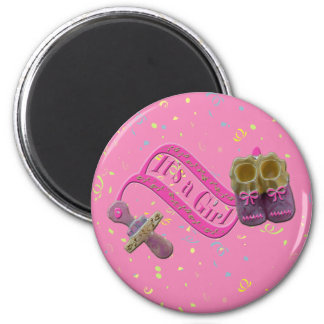 It's a Girl Pacifier Shoes 6 Cm Round Magnet
