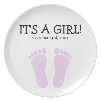 It's a Girl Personalized Commemorative Plate