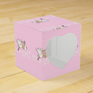 It's a Girl Pink Stork Wedding Favour Boxes
