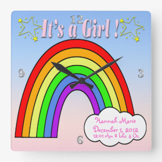 It's a Girl - Rainbow Keepsake Wall Clock