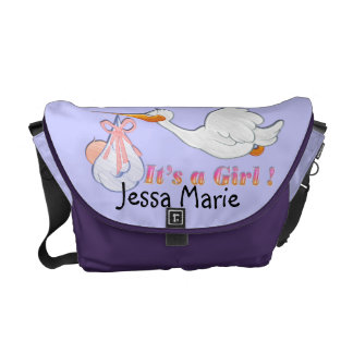 It's A Girl - Stork Baby Diaper Bag Courier Bag