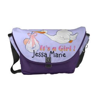 It's A Girl - Stork Baby Diaper Bag Messenger Bag