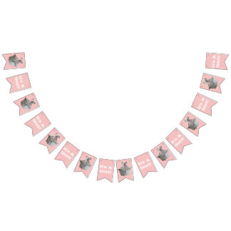 It's A Girl Teddy Bear Pink Stripes Baby Shower Bunting