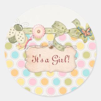 It's a Whimsey Girls BABY SHOWER Gift Round Sticker