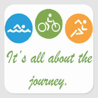 It's all about the journey - Triathlon Square Sticker